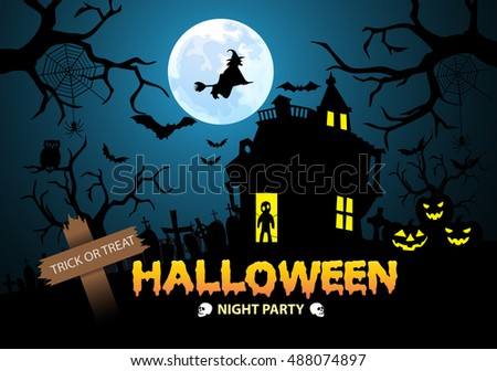 Happy Halloween Night Party Trick Or Treat Festival Holiday Design Vector  Illustration.