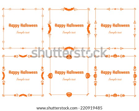 Happy Halloween! Orange Frame isolated on White background. Celebration background with bat and place for your text. Vector illustration  - stock vector