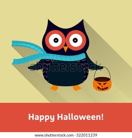Happy Halloween Owl with Pumpkin Vector Illustration | EPS10 Design - stock vector