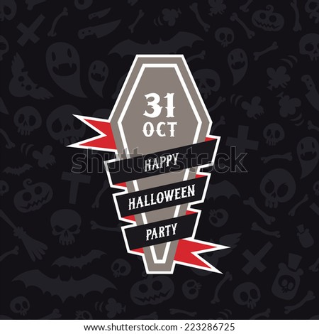 Happy Halloween Party Banner With Coffin. Editable pattern in swatches. - stock vector