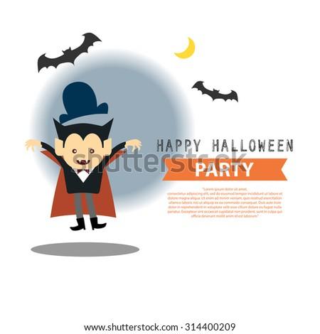 Happy Halloween party cute vampire cartoon character vector illustration design background eps 10 - stock vector