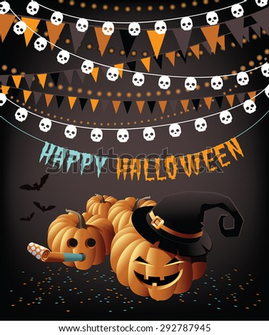 Happy Halloween party pumpkins bunting and confetti greeting card EPS 10 vector - stock vector