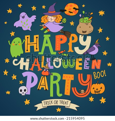 Happy Halloween party - stylish holiday card in vector. Cartoon background in bright colors - stock vector