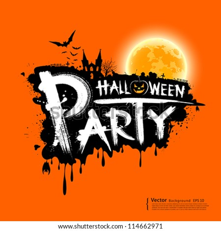 Happy Halloween party text design on orange background, vector illustration - stock vector