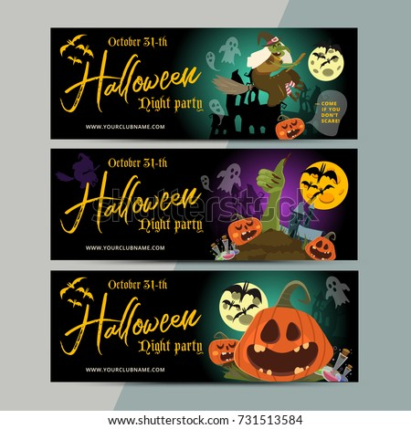 Happy Halloween Party Ticket Template Design. All Hallow Eve Invitation  Flyer Or Poster In Scary