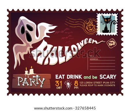 Happy Halloween Postcard invitation background design layout. vector - stock vector