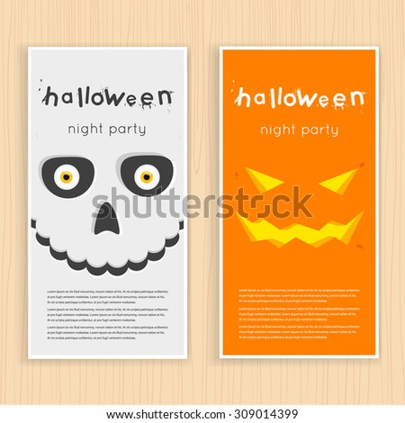 Happy halloween poster, banner, fly-er. Pumpkin and skull on the background of the moon with spider and bats. Halloween party. Flat design vector illustration. - stock vector