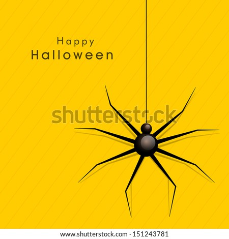 Happy Halloween poster, banner or background with spider on yellow background.