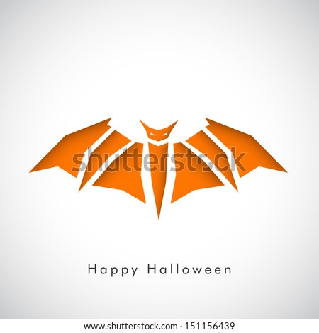 Happy Halloween poster, banner or flyer with orange illustration of bat on grey background. - stock vector
