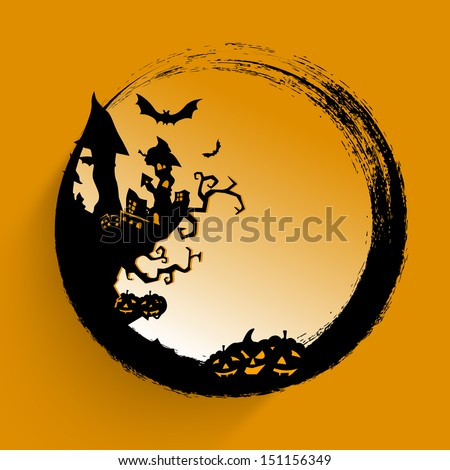 Happy Halloween poster, banner or flyer with scary pumpkins, haunted house, flying bats and space for your text.  - stock vector