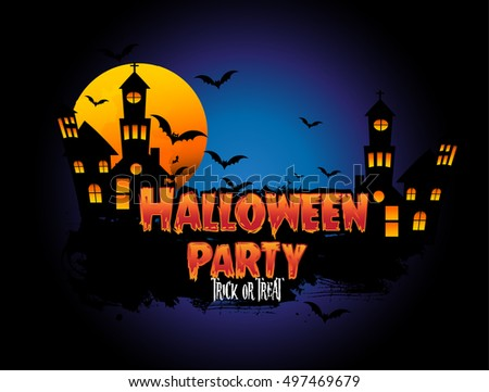 Happy Halloween Poster, night background with creepy castle and pumpkins, illustration. vector elements for banner, greeting card.