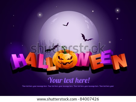 Happy Halloween poster template.  All elements are layered separately in vector file. EPS10 - stock vector