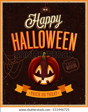Happy Halloween Poster. Vector illustration. - stock vector