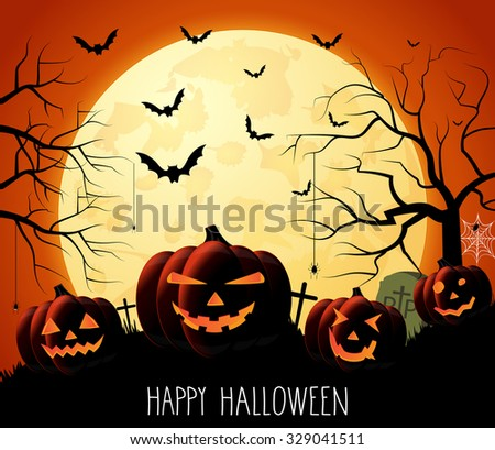 Happy Halloween poster with handwritten text. Night orange background with pumpkins and moon. Vector illustration.