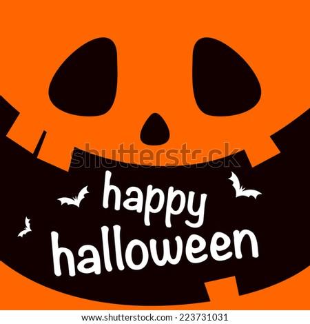 Happy Halloween poster with pumpkin face - stock vector