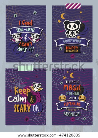 Happy Halloween posters, cards, backgrounds, wallpapers. Scary, cute panda monsters. Trendy typographic decoration for children's party.
