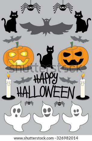 Happy Halloween Pumpkin Ghosts Black Cat Stock Vector 326982014