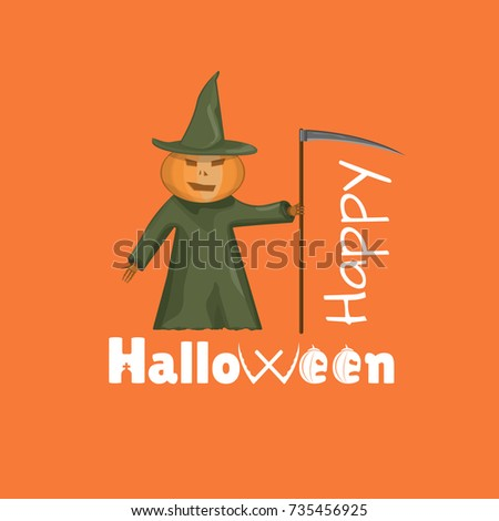 Happy Halloween Pumpkin Scarecrow Or Bogey With Scythe Stylization Text Card Poster