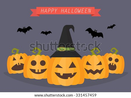 Happy Halloween Pumpkins. Greeting card - stock vector