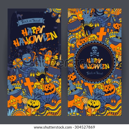 Happy Halloween retro styled doodle creative banners with various elements of holiday on dark blue grunge background. Vector illustration. - stock vector