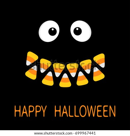 happy halloween scary face smiling emotions big eyes mouth candy corn smile teeth