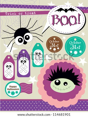 happy halloween scrapbook collection. vector illustration