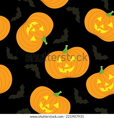 Happy Halloween! Seamless pattern with pumpkins. Vector illustration.