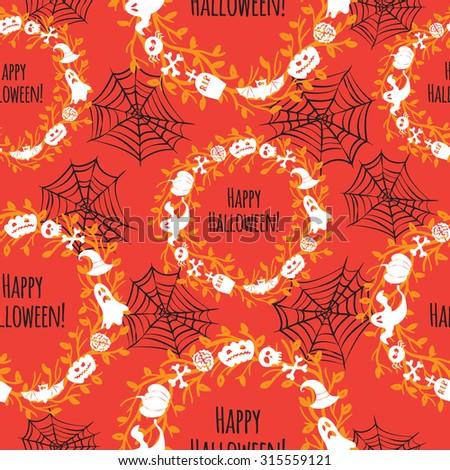 Happy Halloween. Seamless vector background - stock vector