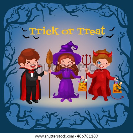 Happy Halloween. Set of cute cartoon children in colorful halloween costumes: Dracula