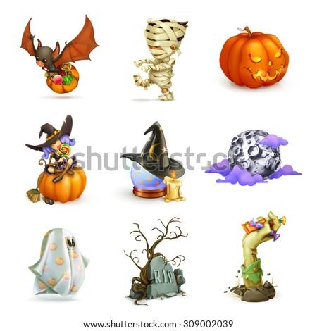 Happy Halloween set of vector icons - stock vector
