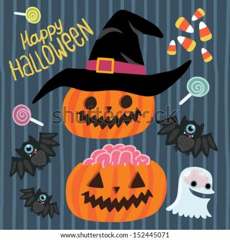 Happy Halloween set - pumpkin, witch hat, bat, ghost, lollipop, corn. - stock vector