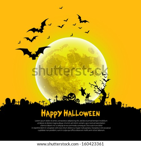 Happy Halloween sign and theme design background - vector illustration - stock vector