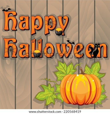 Happy Halloween sign on wooden background