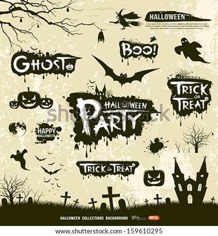Happy Halloween Silhouette collections design, vector illustration - stock vector