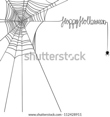 Happy Halloween spider web banner - stock vector