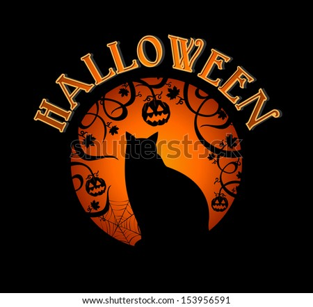 Happy Halloween spooky forest and black cat holiday icon illustration. EPS10 vector file organized in layers for easy editing. - stock vector