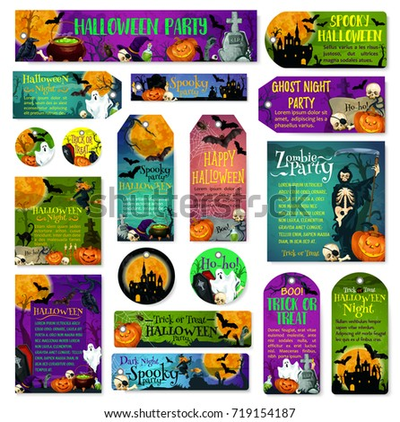 Happy Halloween Spooky Night Party And Trick Or Treat Greeting Cards And  Posters Design Of Scary