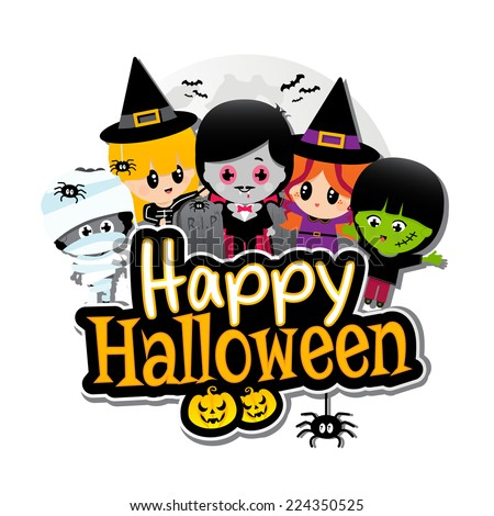 Happy Halloween text banner with Children dressed in Halloween costumes on a plain White background. Characters include vampire, dracula, witches, frankenstein, Mummies, spiders, pumpkins and bats - stock vector