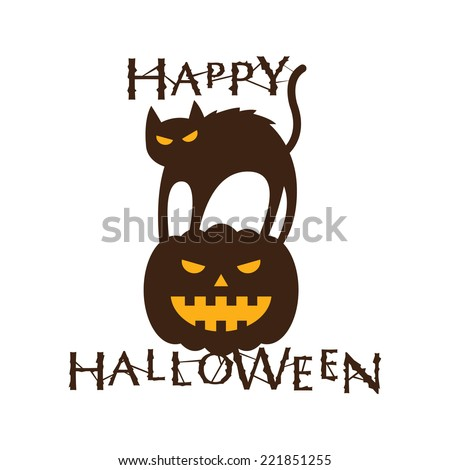 Happy Halloween Text with Cat & Pumpkin - stock vector