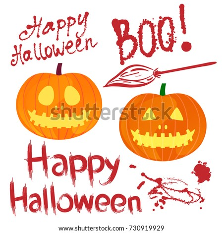 happy halloween text written by bloodstains texture inscription and