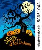 Happy Halloween theme with tree - vector illustration. - stock vector