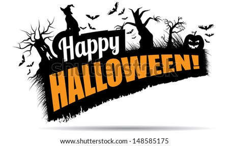 Happy Halloween Title. EPS 10 Vector, Grouped For Easy Editing. No Open  Shapes