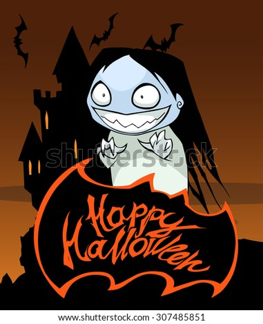 Happy Halloween title with a ghost girl - stock vector