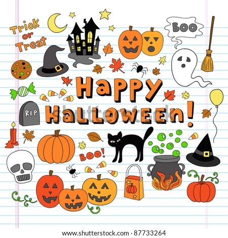 Happy Halloween Trick or Treat Notebook Doodles- Hand Drawn Holiday Design Elements Set on White Lined Sketchbook Paper Background- Vector Illustration - stock vector