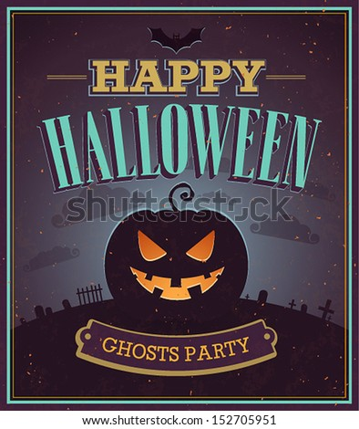Happy Halloween typographic design. Vector illustration. - stock vector