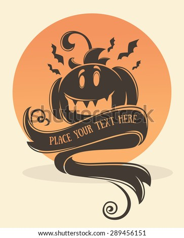 happy halloween,vector greeting card or invitation with place for text and image of pumpkin - stock vector