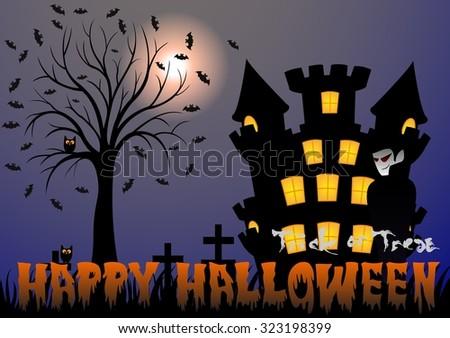 Happy Halloween vector illustration with vampire, bat, castle, tree and cemetery - stock vector