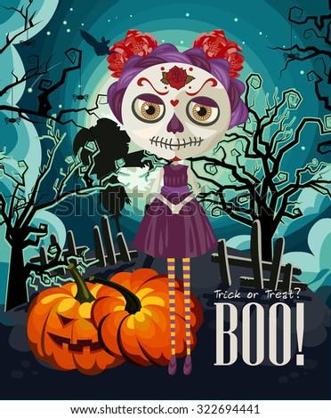 Happy Halloween vector invitation card with zombie - stock vector
