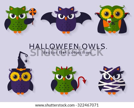 Happy Halloween! Vector owls are dressed in costumes of witch, vampire, bat, mummy and devil. Set of traditional spooky but cute characters of Halloween. Flat icons isolated on clear background. - stock vector