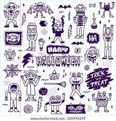Happy Halloween. Wacky Cartoon Doodle Set 1. Vector Hand Drawn Illustration. School Notebook Pattern. - stock vector